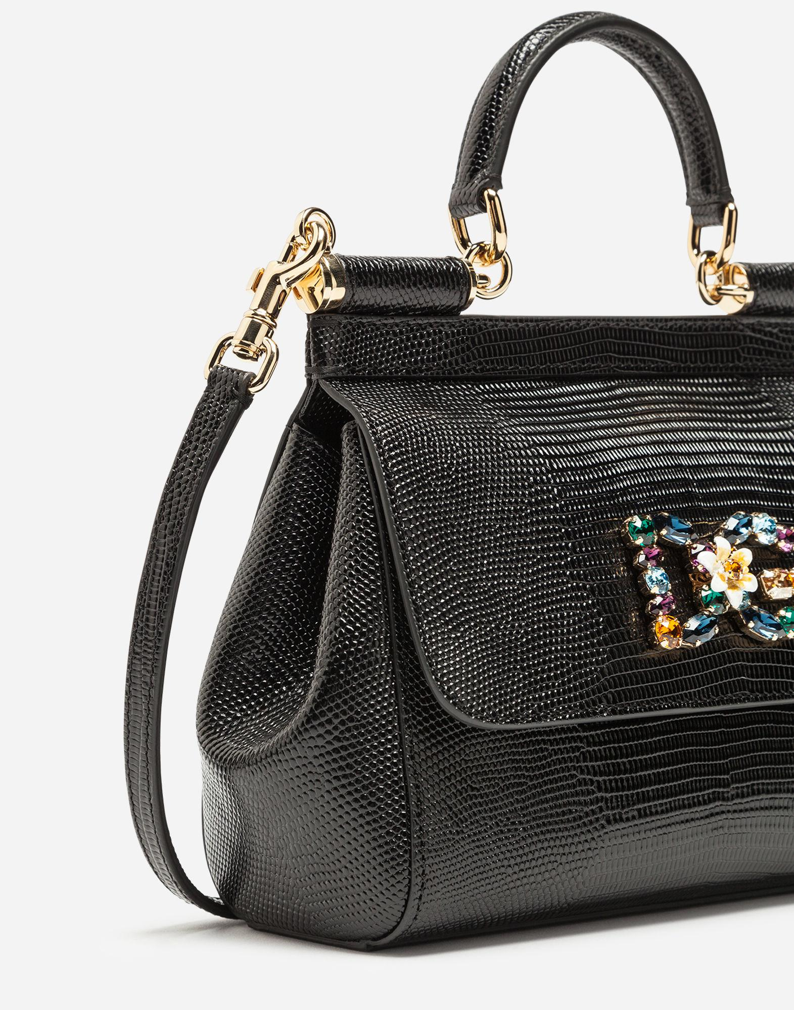 Lyst - Dolce   Gabbana Small Calfskin Sicily Bag With Iguana-print And Dg  Crystal Logo Patch in Black 9285420a2ad1e