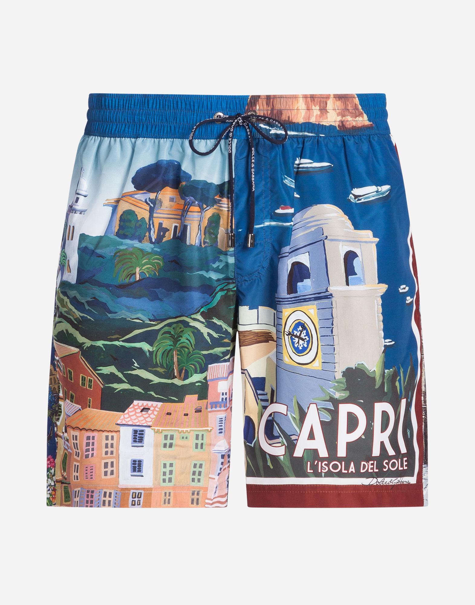 23ae610c4e3bf Dolce & Gabbana Long Printed Swimming Trunks in Blue for Men - Lyst