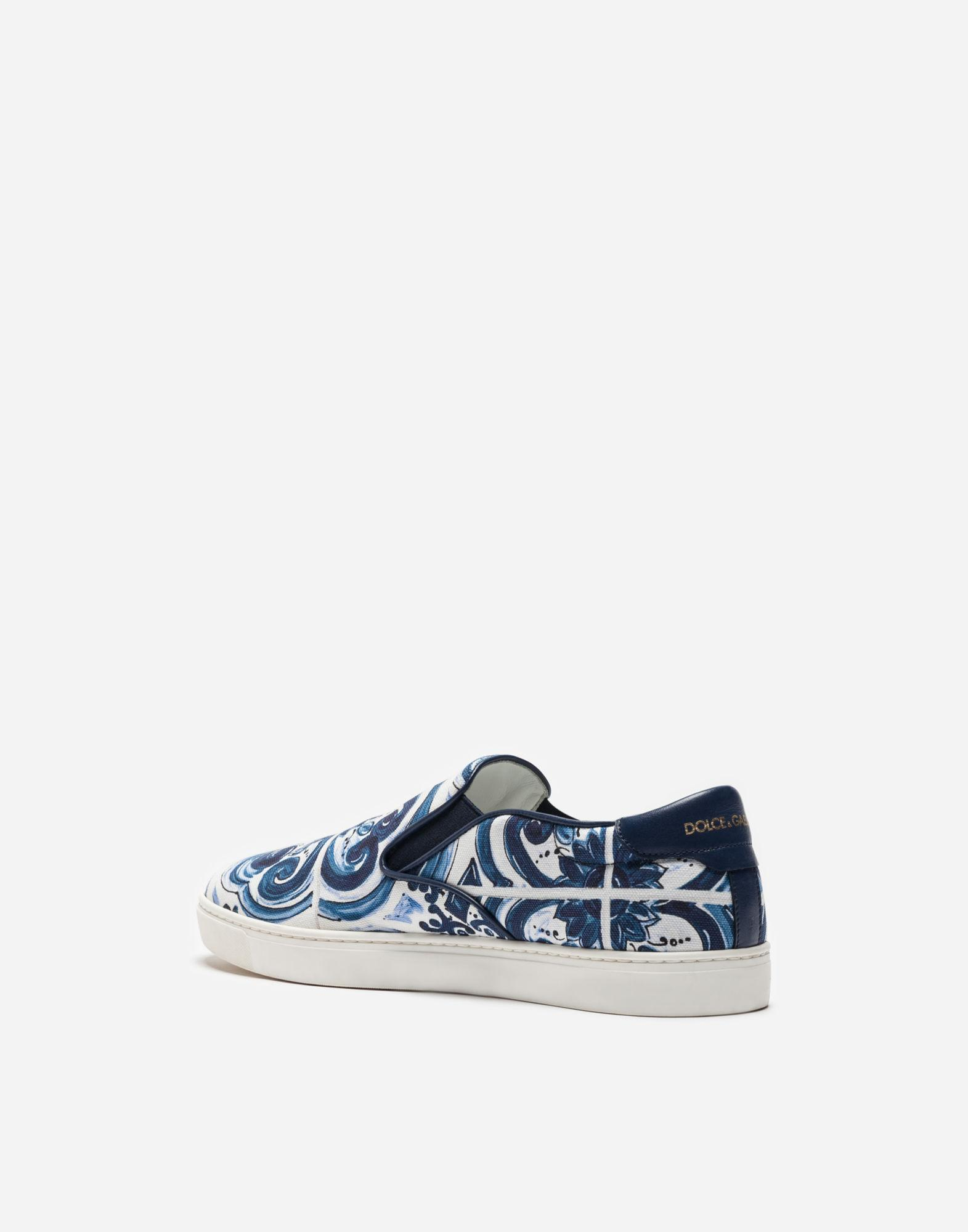 Dolce & Gabbana London Sneakers In Printed Canvas in Blue