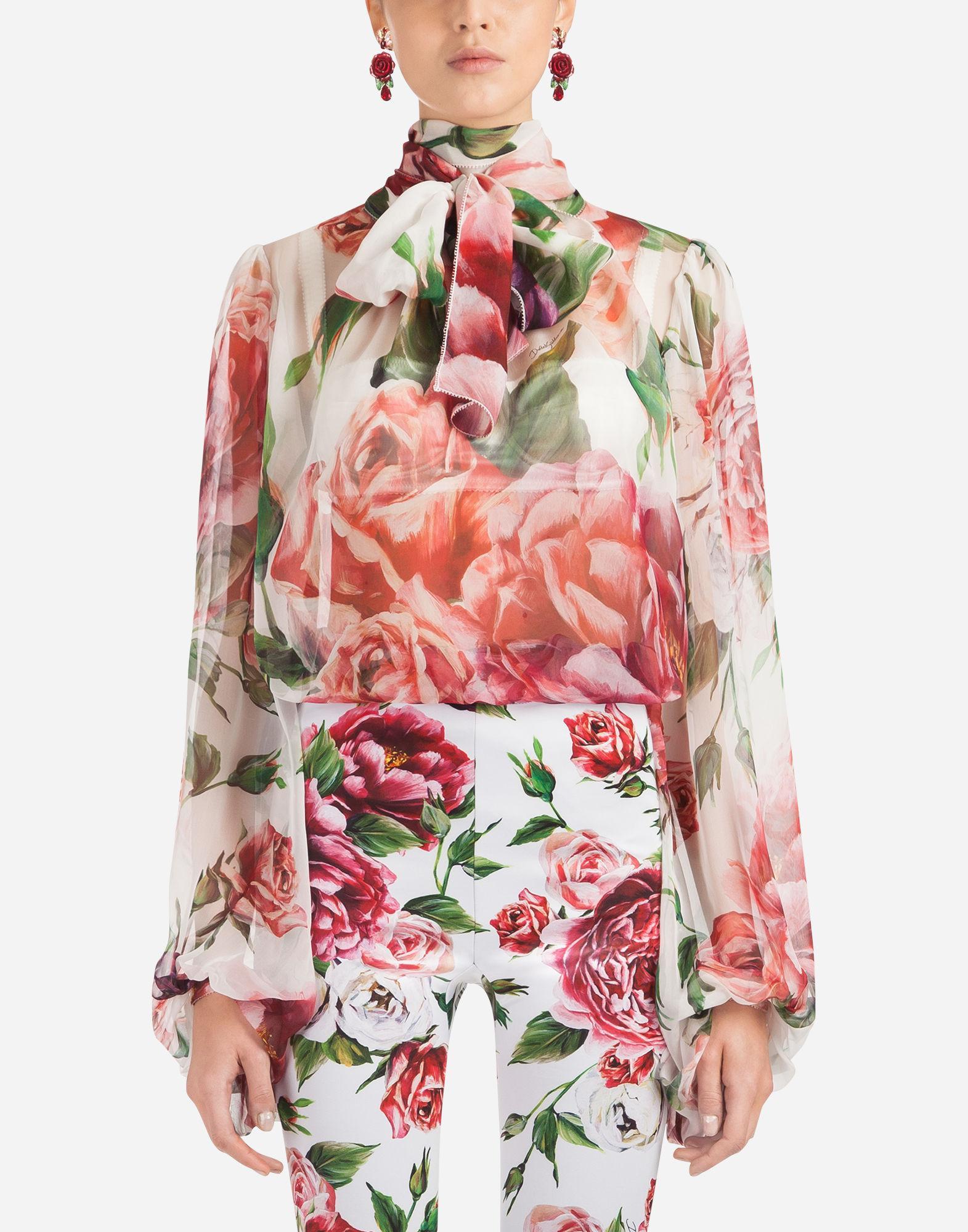 22e794c848a731 Dolce & Gabbana Peony-print Silk Blouse - Lyst