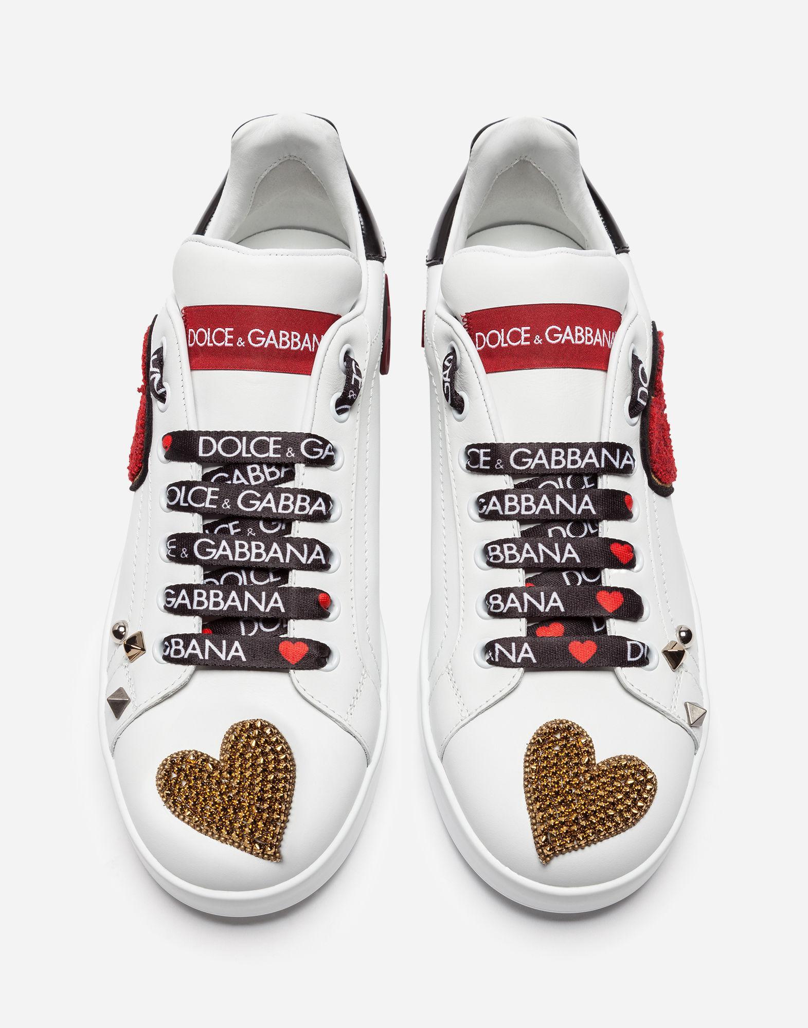 Sneakers Portofino En Cuir De Veau Femme Coloris Avec Écusson Broderies Et Blanc H2eEIWD9Y