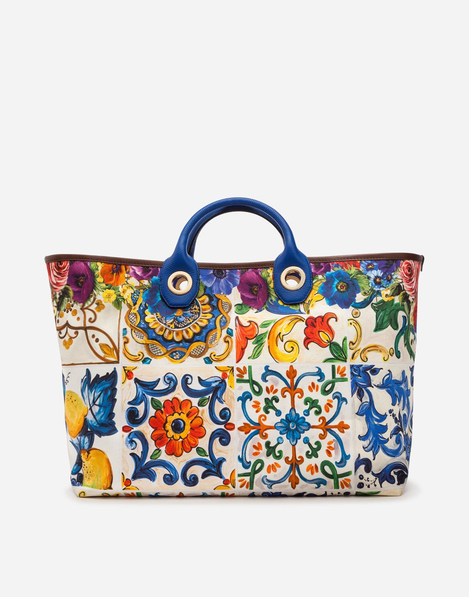 a68212d80e Lyst - Dolce   Gabbana Medium Capri Shopping Bag In Printed Canvas ...