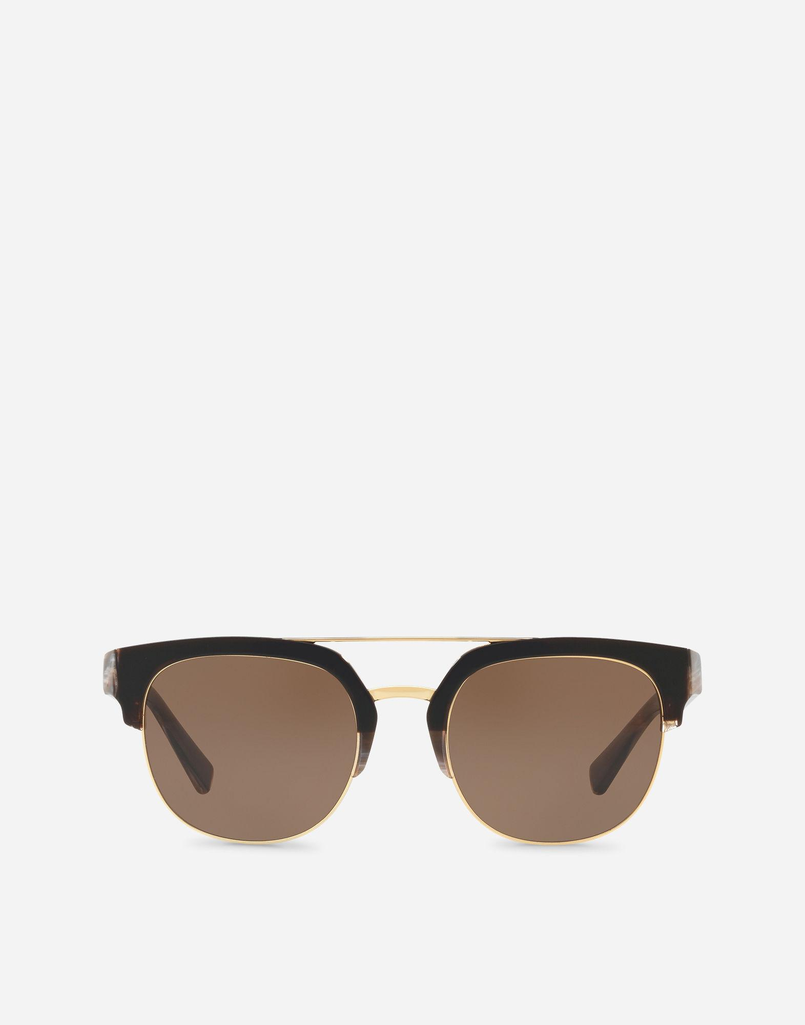 58590b0002a6 Lyst - Dolce   Gabbana Square Sunglasses With Double Bridge In Metal ...