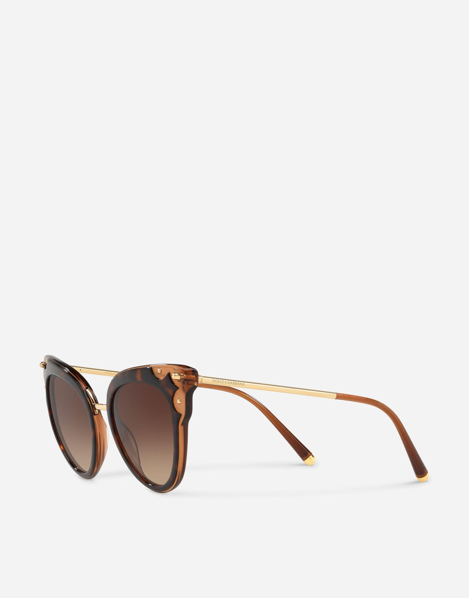 c084cd88aa2 Lyst - Dolce   Gabbana Cat-eye Acetate Sunglasses With Metal Details in  Brown