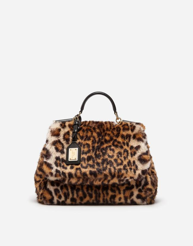 e8a7127a1c Dolce   Gabbana Sicily Soft Bag In Leopard Faux Fur in Brown - Lyst