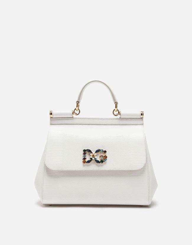 30fefffe56 Tap to visit site. Dolce & Gabbana - White Medium Calfskin Sicily Bag With Iguana  Print ...