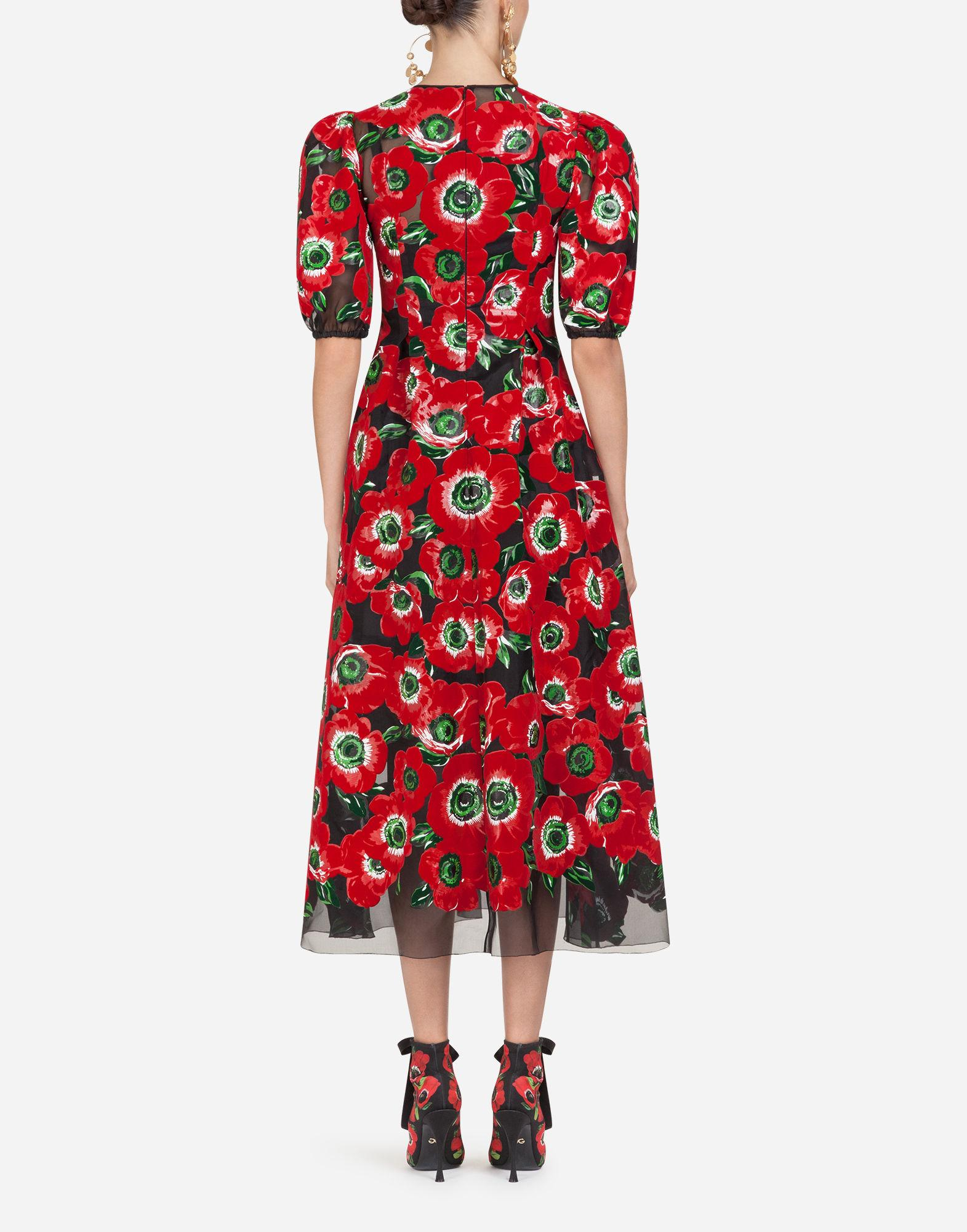 Lyst - Dolce   Gabbana Long Silk Dress With Anemone Print in Red 85901bc42