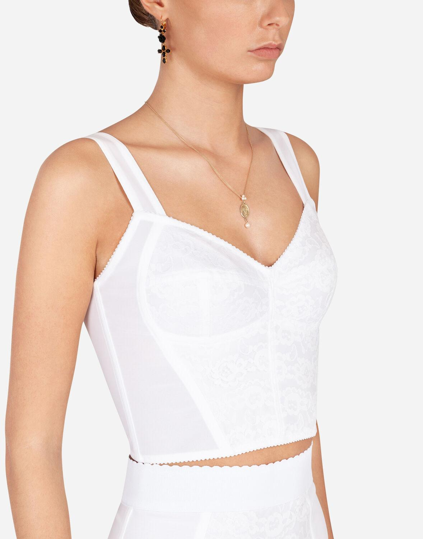 Corpiño Corsetero De Encaje Y Jacquard Dolce & Gabbana de Encaje de color Blanco