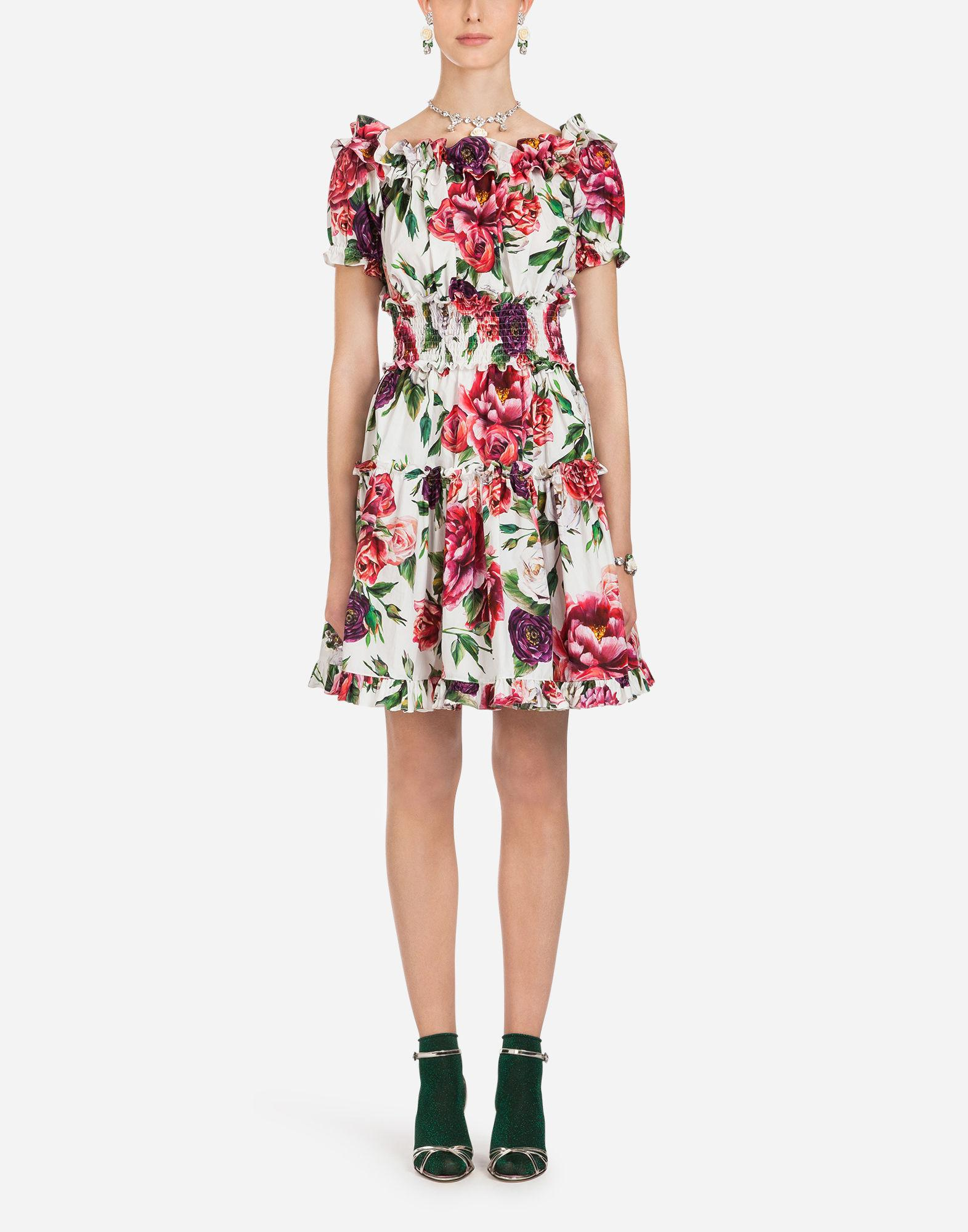 b4ef97f1d71bd Dolce   Gabbana Cotton Dress In Peony Print in Red - Lyst