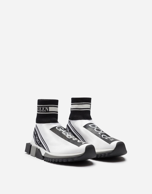 Zapatillas Sorrento Altas De Punto Elástico Con Logotipo Dolce & Gabbana de Tejido sintético de color Blanco