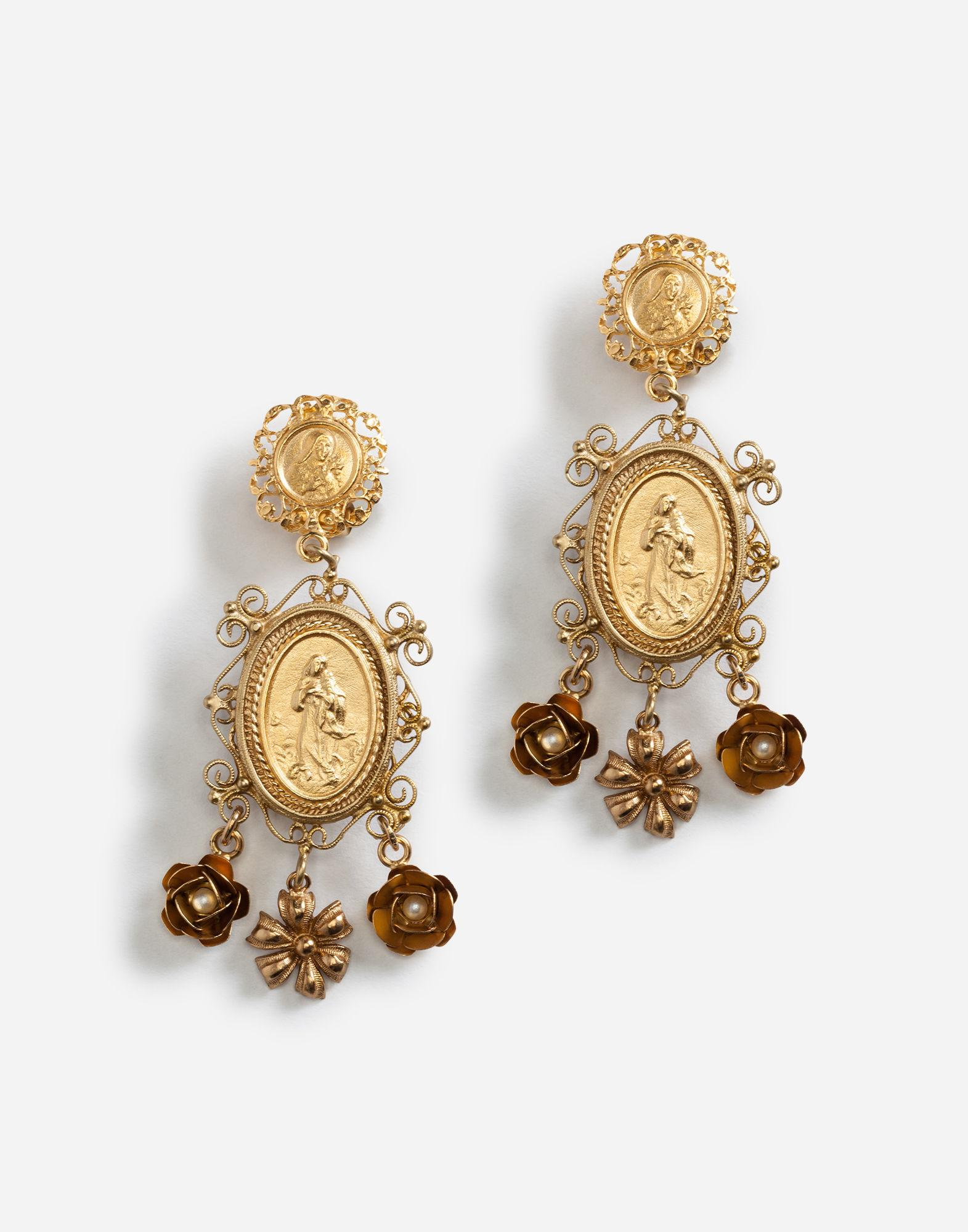 c264297305a68 Lyst - Dolce   Gabbana Drop Earrings With Decorative Details in Metallic