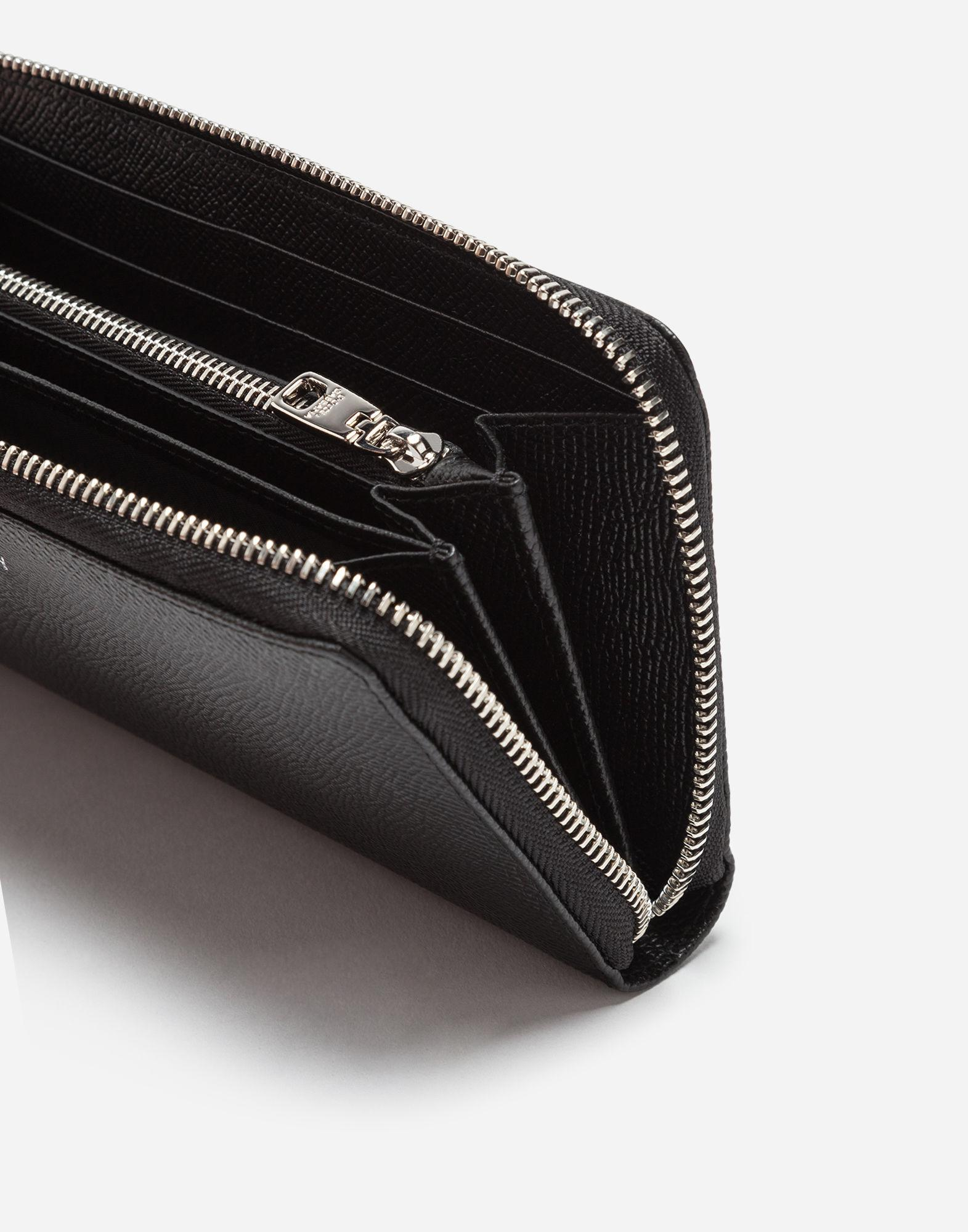 61ea3d754b Lyst - Dolce & Gabbana Zip-around Dauphine Calfskin Wallet With Patches Of  The Designers in Black for Men