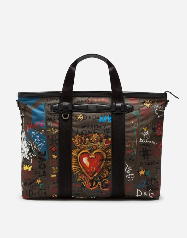 f1f48e64a993 Dolce   Gabbana Printed Nylon Travel Bag in Black for Men - Lyst
