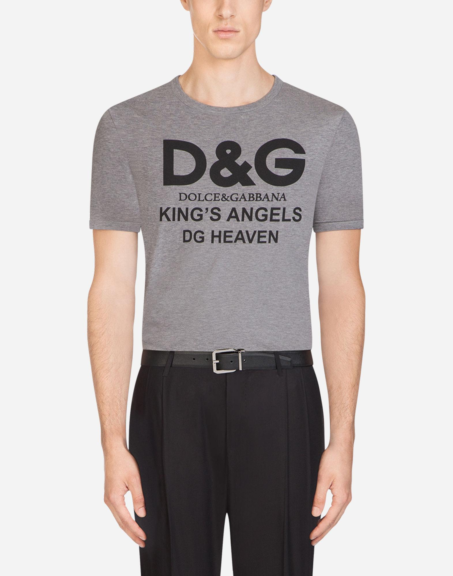 974d520ed Lyst - Dolce & Gabbana Cotton T-shirt With D&g Print in Gray for Men