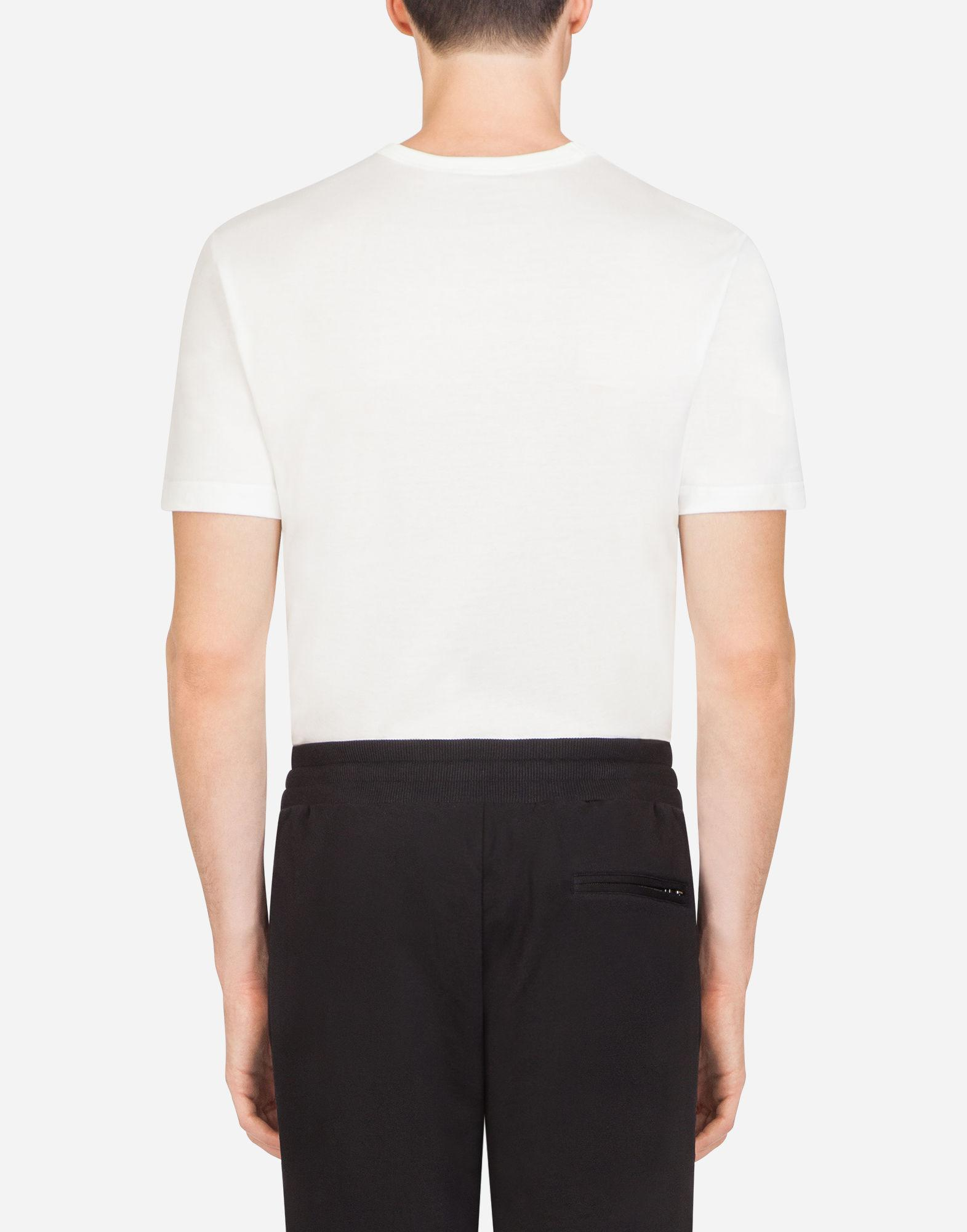 aa93ca13a Dolce & Gabbana Cotton T-shirt With Branded Plate in White for Men - Save  3% - Lyst