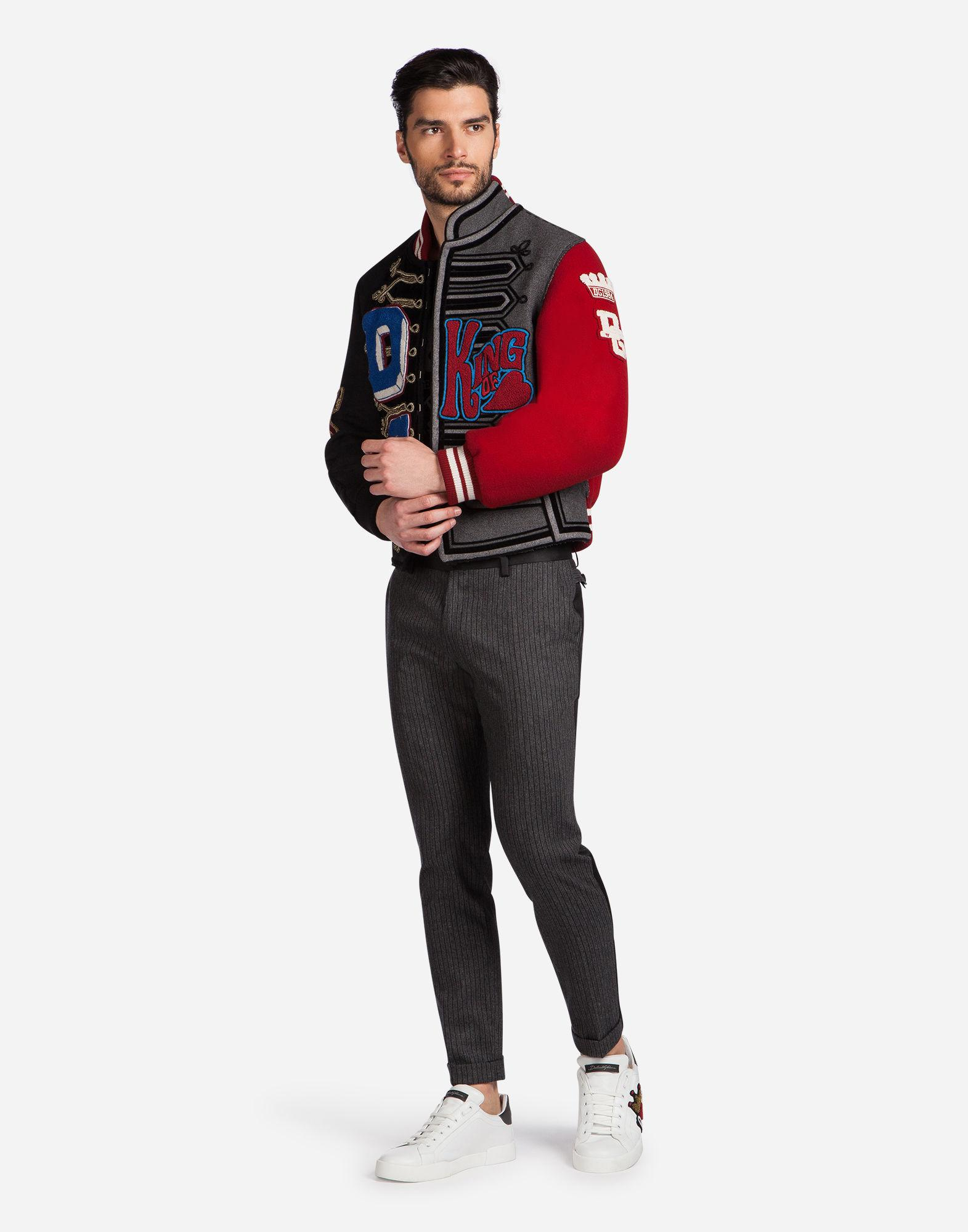 Dolce & Gabbana Wool Blend Bomber Jacket With Patches for Men