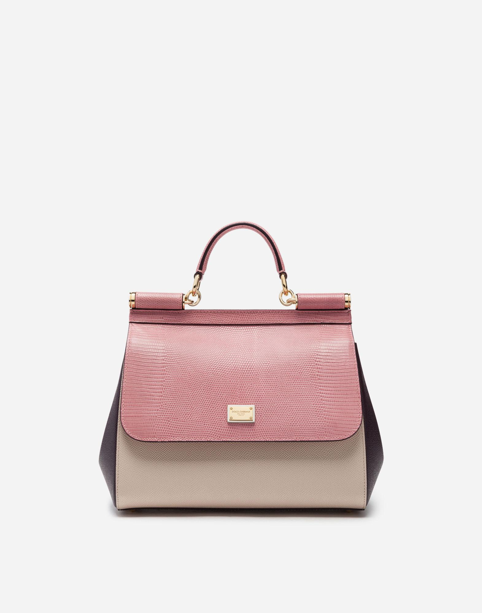 7a586d94ad Lyst - Dolce   Gabbana Medium Sicily Bag In Mix Of Materials in Pink