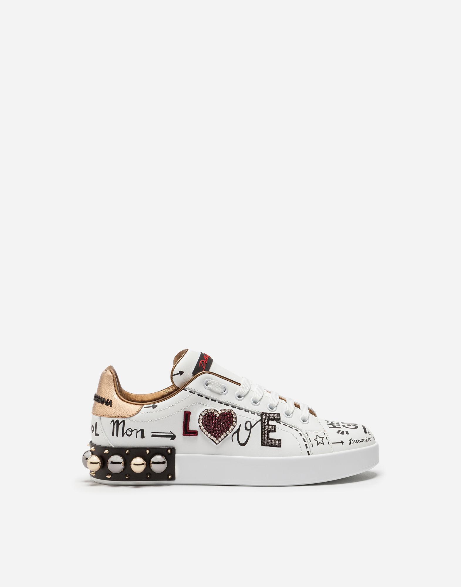 1e186fcfd1ad Dolce   Gabbana. Women s White Printed Calfskin Portofino Sneakers ...