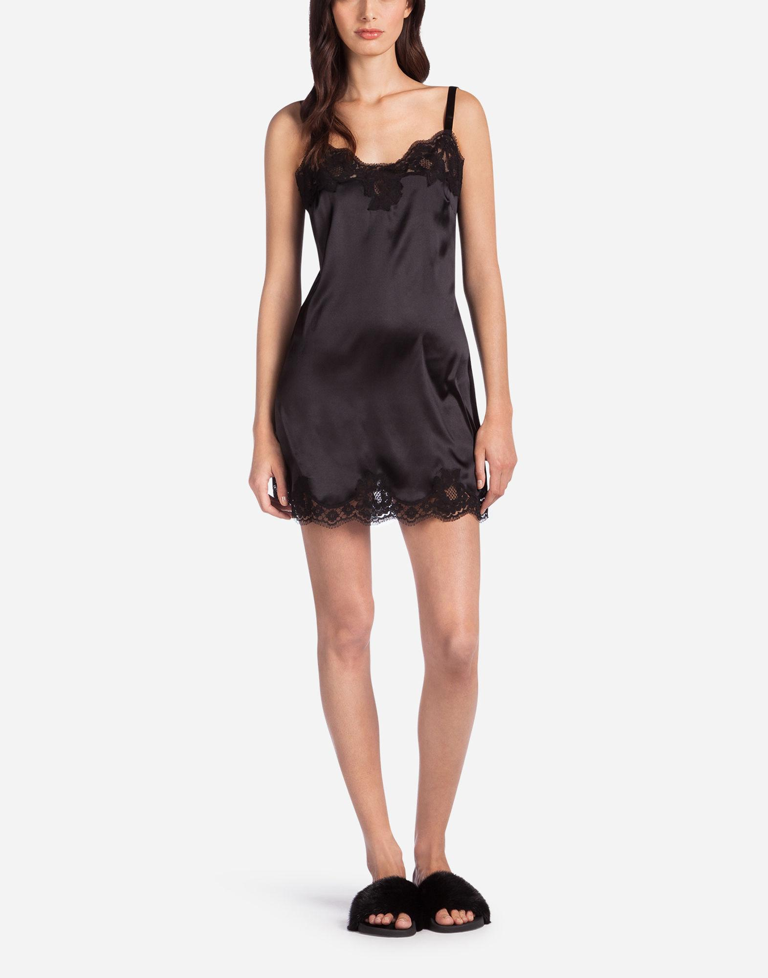 2cb8890fb02 Lyst - Dolce   Gabbana Slip Dress In Silk With Embroidery in Black