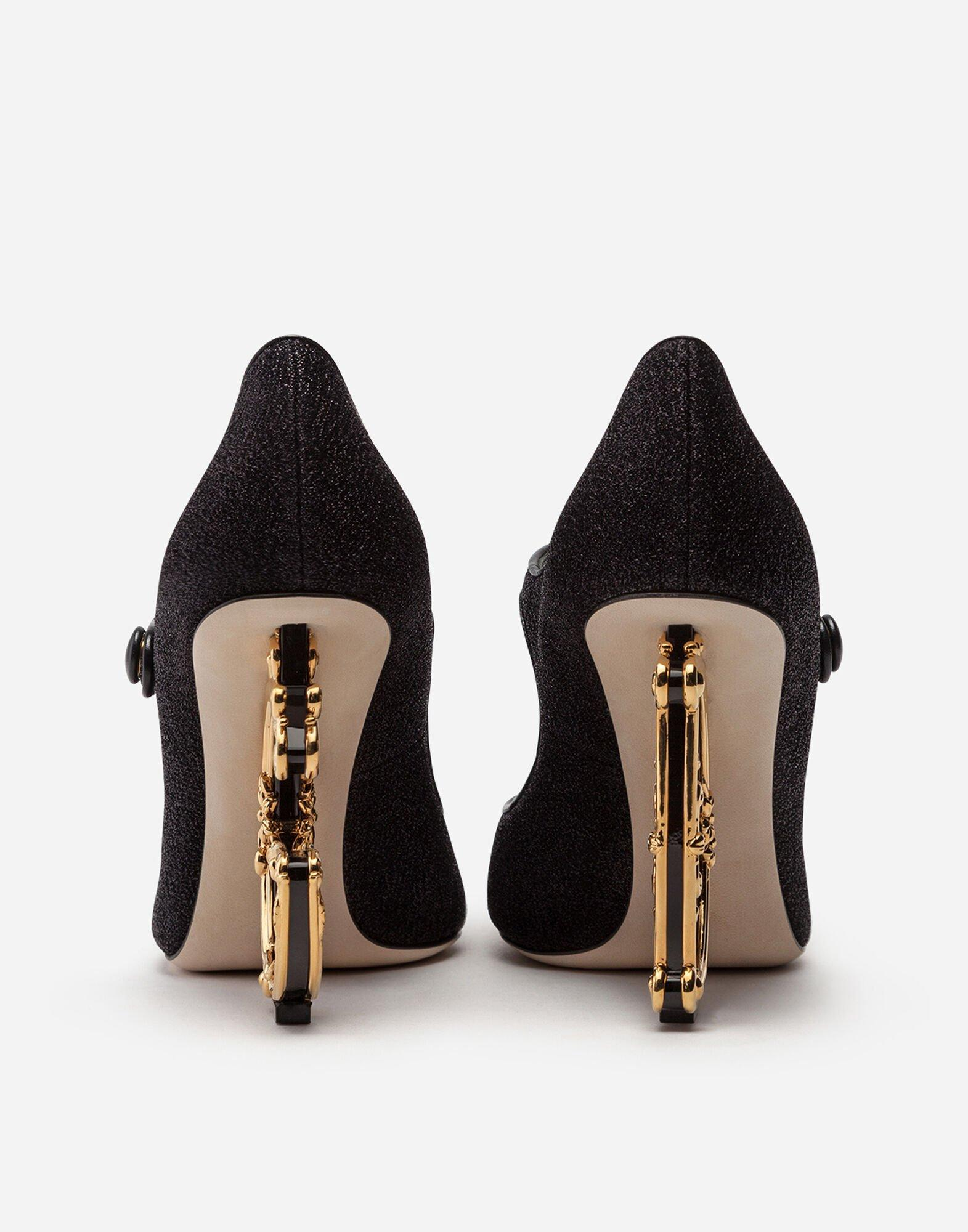 Merceditas De Lúrex Con Tacón Escultura Dolce & Gabbana de Tejido sintético de color Negro