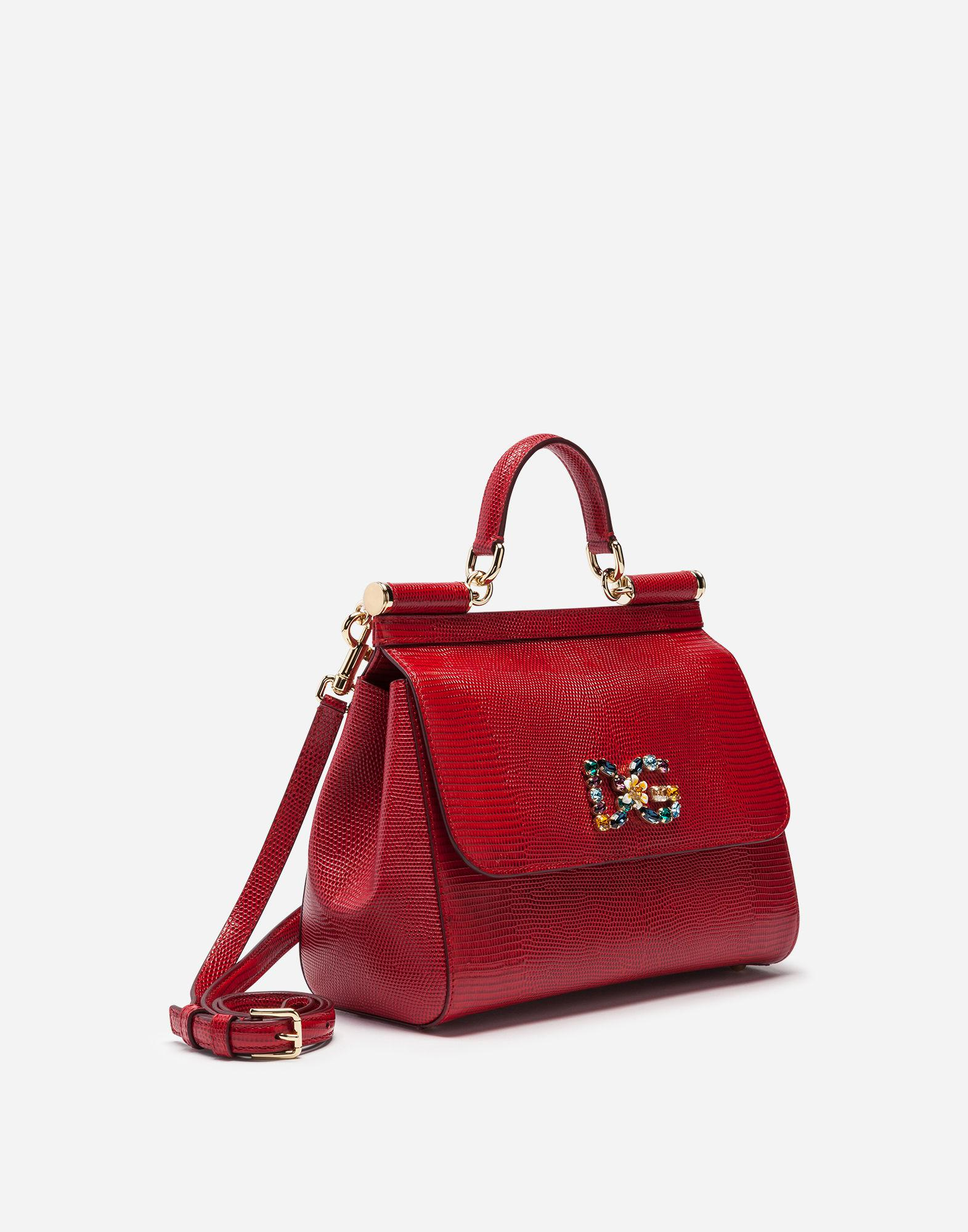 Lyst - Dolce   Gabbana Medium Sicily Bag In Iguana Print Calfskin With Dg  Logo Crystalsâ in Red 6bdde9f133
