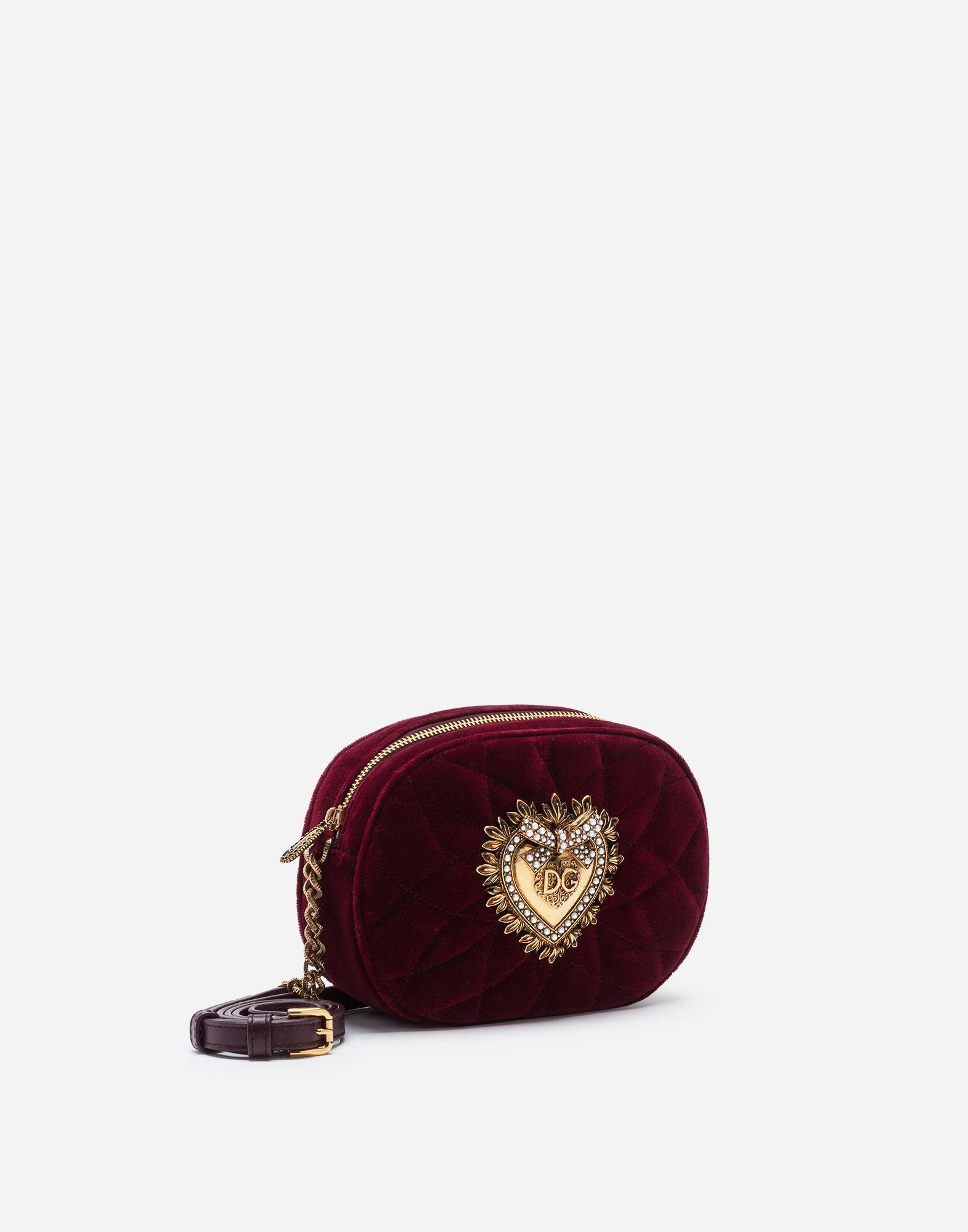 06f8902ce5a Dolce & Gabbana Devotion Camera Bag In Quilted Smooth Velvet in Red - Lyst
