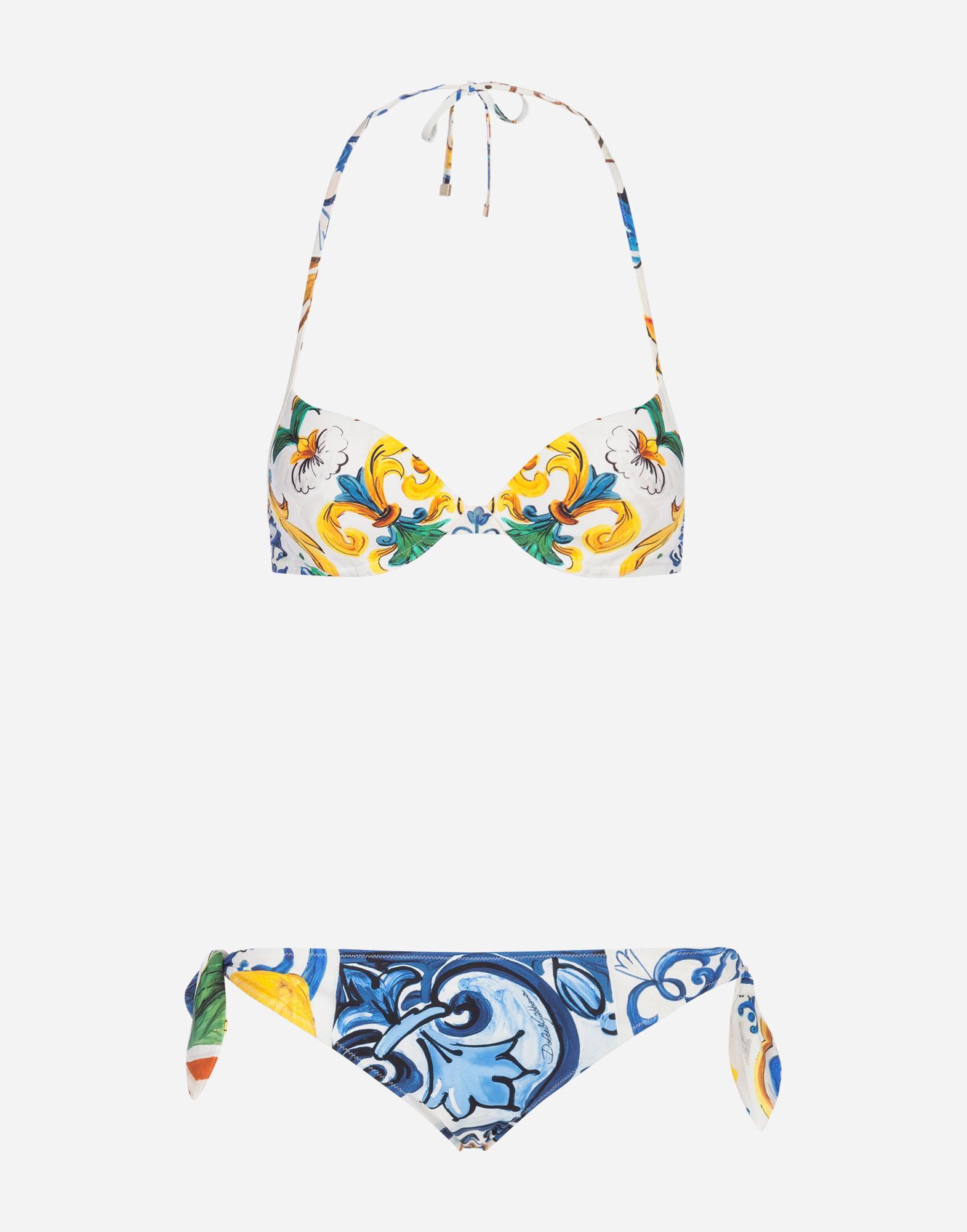 2721fb57c8 Lyst - Dolce   Gabbana Printed Bikini With Balconette Bikini Top in Blue