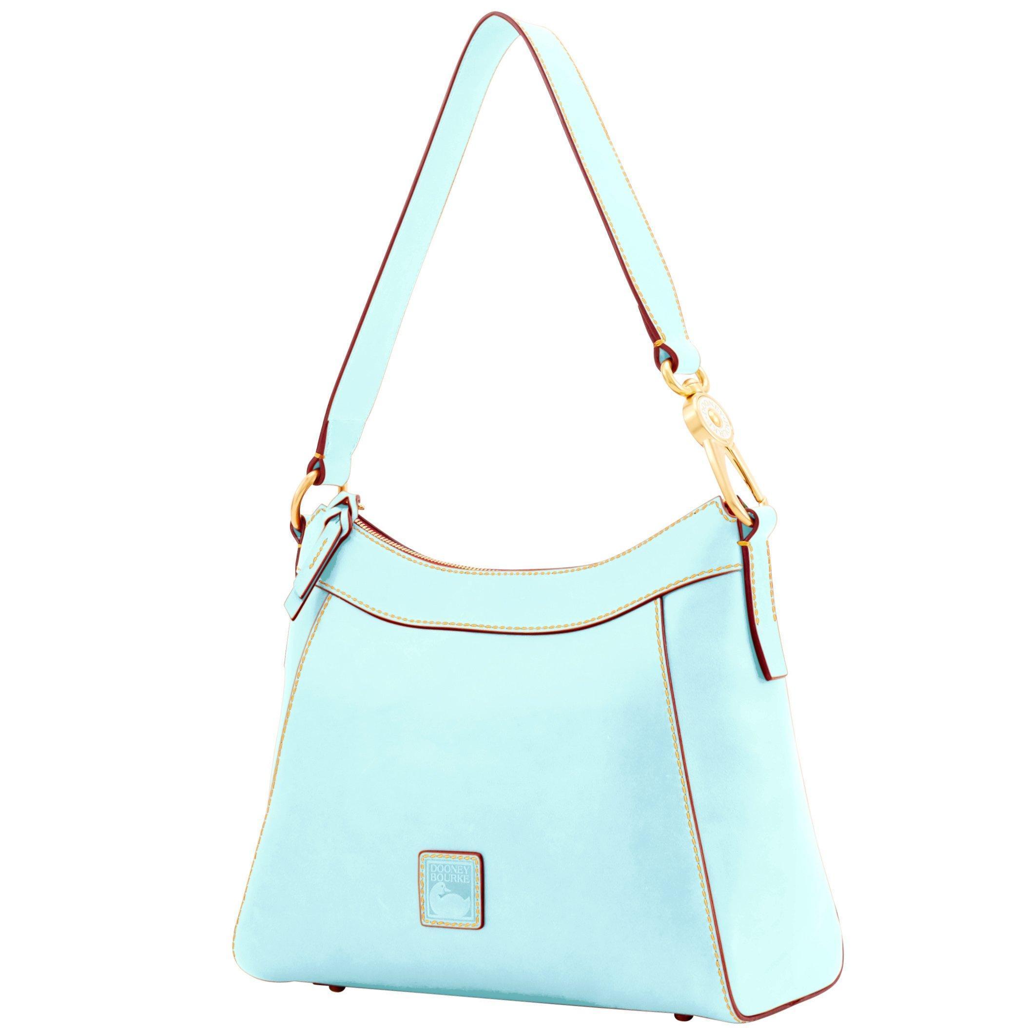 Dooney /& Bourke Cassidy Large TZ Florentine Leather Hobo Denim Blue Gold NWT