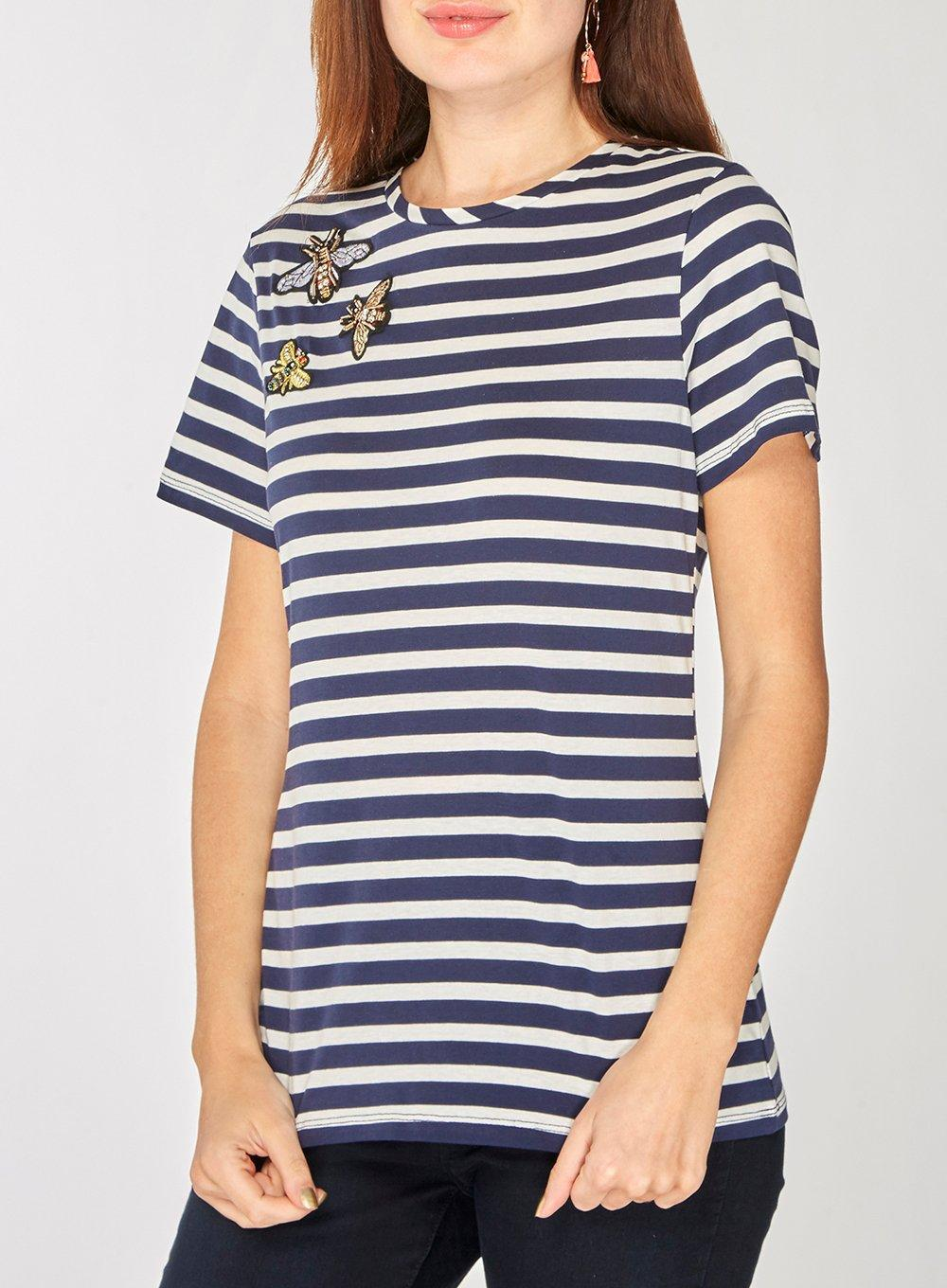 Cheap Sale Order Dorothy Perkins Womens and White Striped Bee Embellished T-Shirt- Outlet 100% Original Buy Cheap Choice With Credit Card Online ggK9Jyx