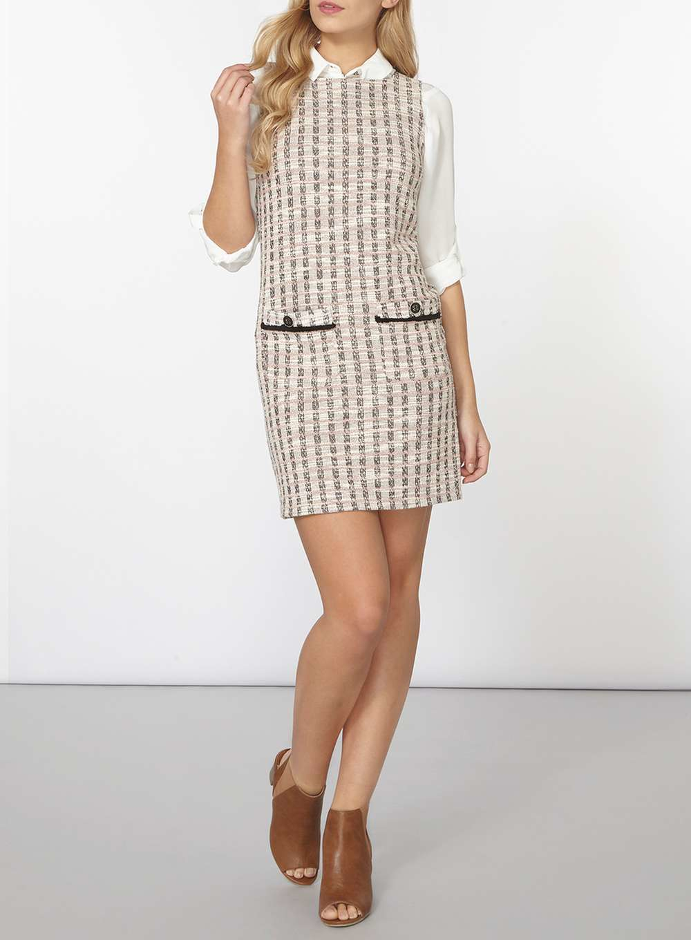 dorothy perkins pink boucle check shift dress in pink lyst