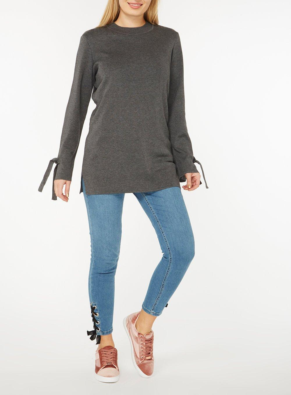 Dorothy Perkins Synthetic Charcoal Tie Cuff Jumper in Grey (Grey)