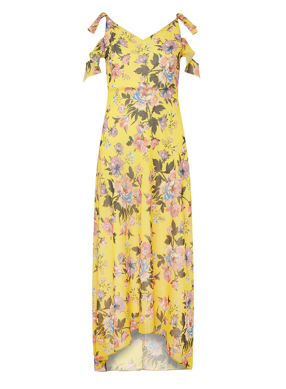 17557d063d6e Dorothy Perkins Floral Cold Shoulder Maxi Dress in Yellow - Lyst
