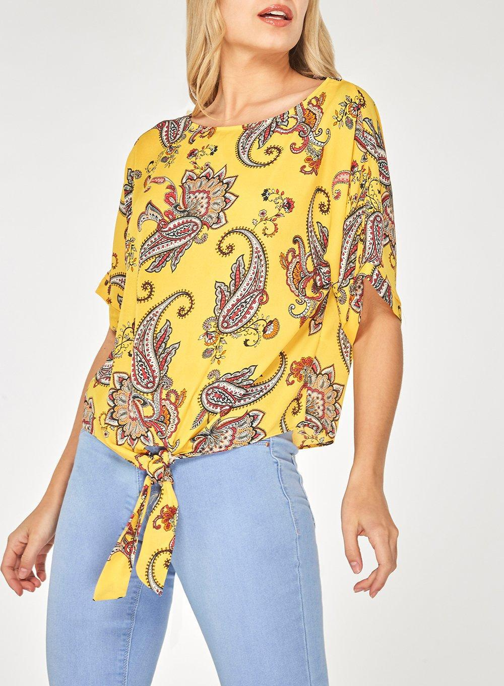 Visit Cheap Online 2018 Unisex Cheap Online Dorothy Perkins Womens Ochre Print Tie Top- Buy Cheap Find Great Sale Pay With Paypal Cheap Price Free Shipping cB3sc4lW