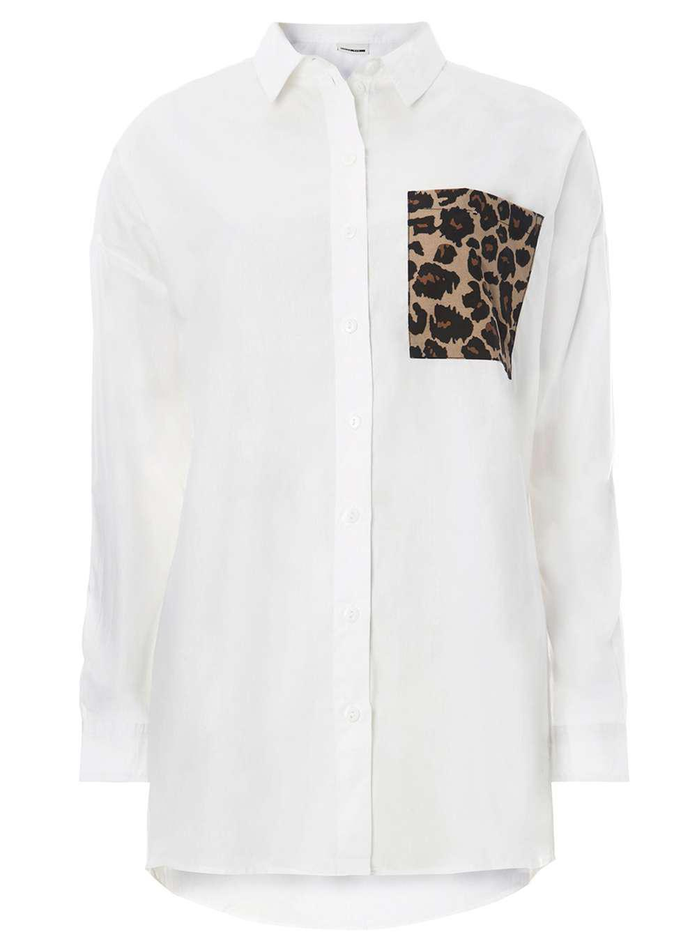 af42f4978b8b0 Dorothy Perkins Noisy May White Leopard Print Pocket Shirt in White ...