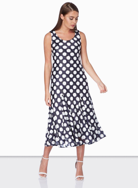Dorothy Perkins Satin Roman Originals Navy Spot Print Dress in Blue