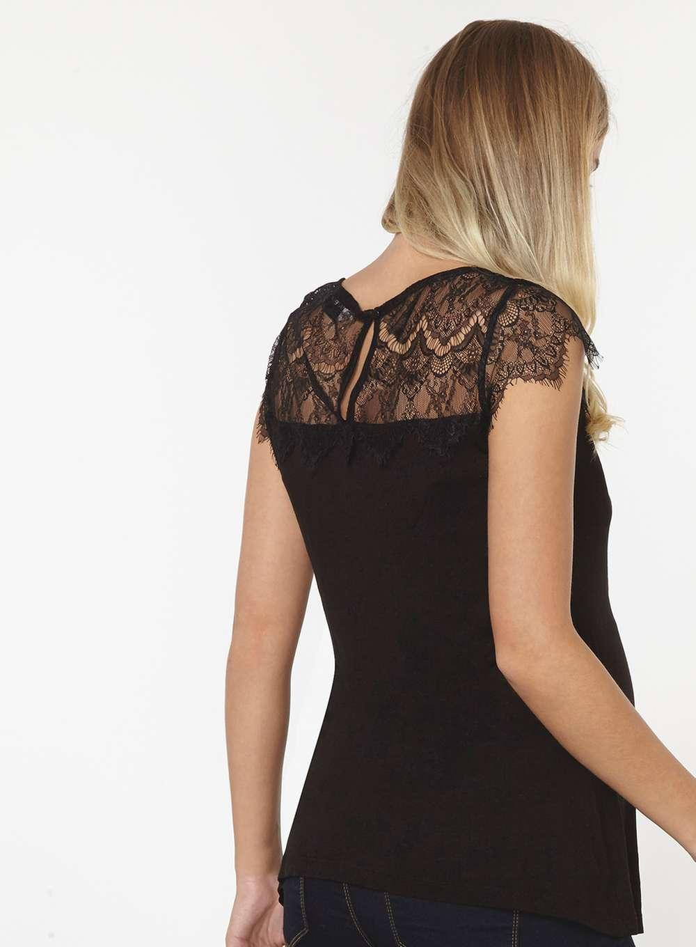 Black plus size paisley lace top dip back hem Save. Was £ Now £ Star by Julien Macdonald Black lace stud embellished shirt Ivory striped lace yoke shell top Save. Was £ Now £ Quiz Olivia's blue lace cut out bodysuit Save. £ Apricot Cream lace crinkle batwing top.