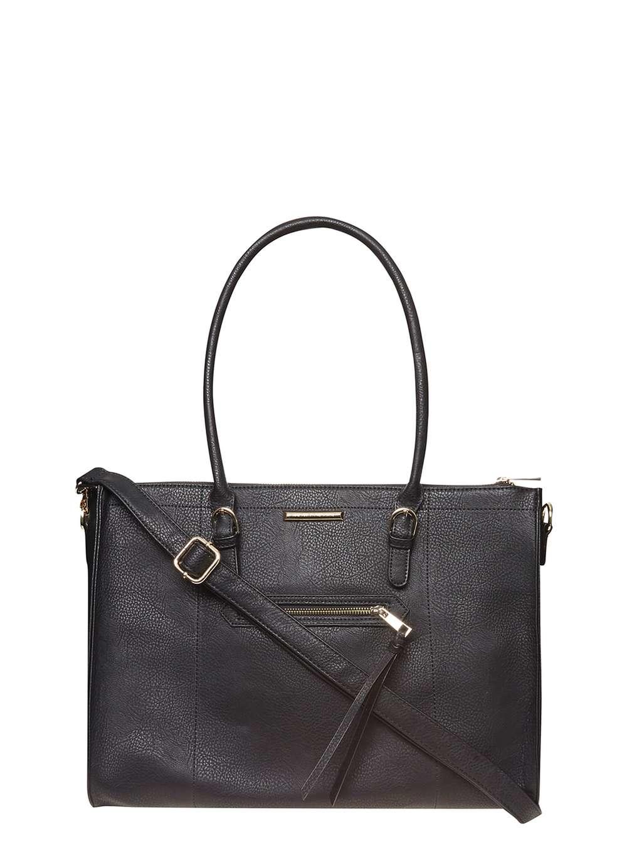Dorothy perkins Black Zip Front Tote Bag in Black