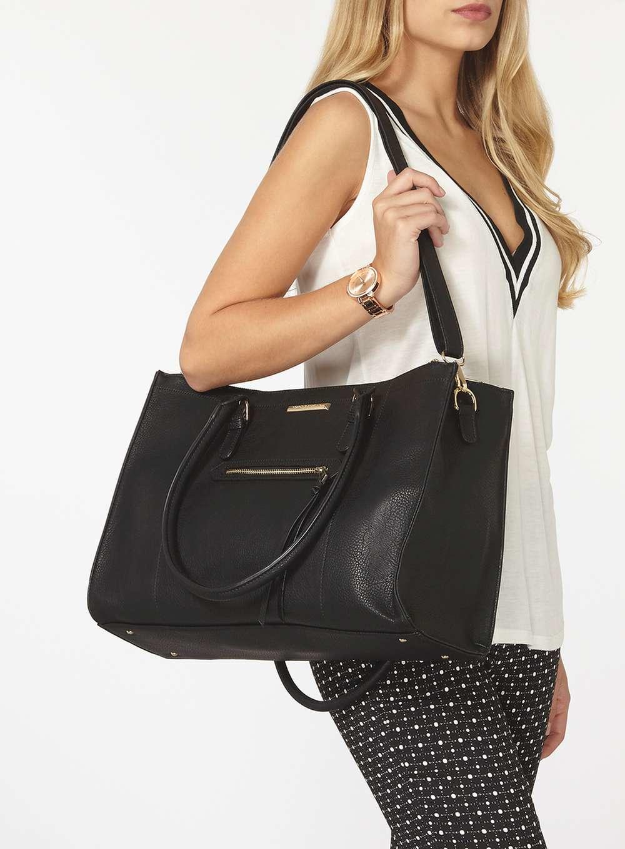 27d4d9e8b1f7 Lyst - Dorothy Perkins Black Zip Front Tote Bag in Black