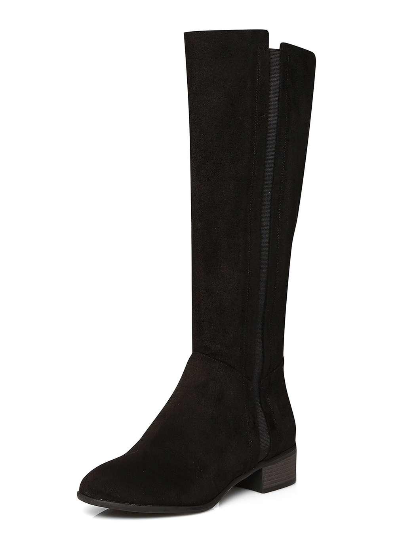 dorothy perkins black rider boots in black lyst