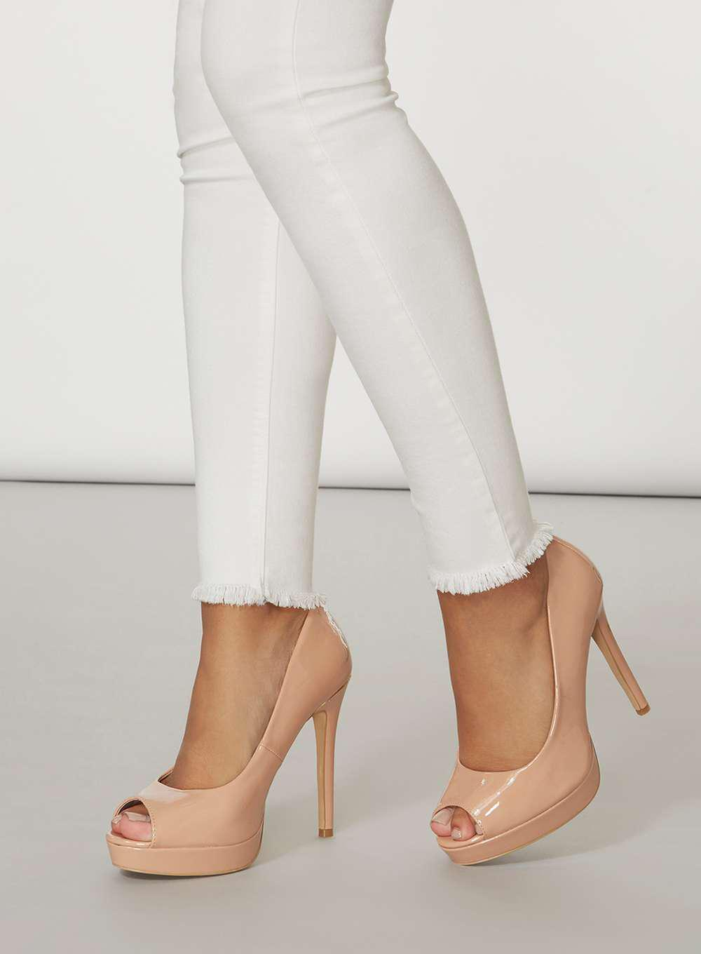 87a3e690 Dorothy Perkins Wide Fit Nude 'gift' Peep Toe Platform Heel in White ...