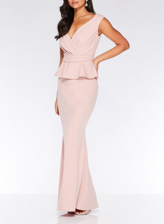 c0f1d4caa13 Dorothy Perkins - White Quiz Pink Peplum Detail Maxi Dress - Lyst. View  fullscreen