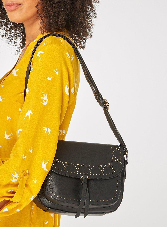 Dorothy Perkins Black Studded Saddle Cross Body Bag