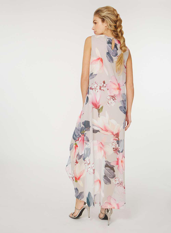 Dorothy Perkins Chiffon Billie & Blossom Grey Printed Maxi Dress in Grey