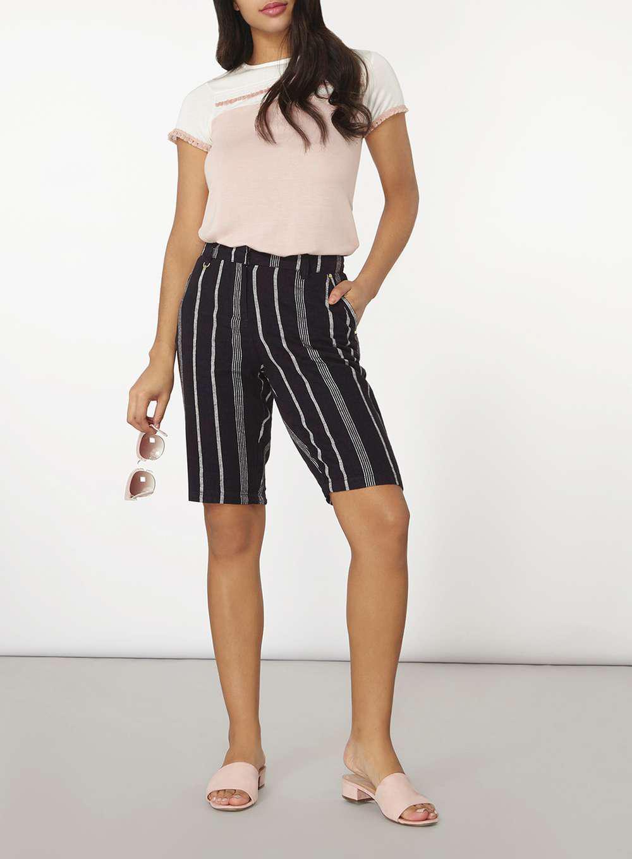 827a914857af Lyst - Dorothy Perkins Black Striped Linen Knee Length Shorts in Black