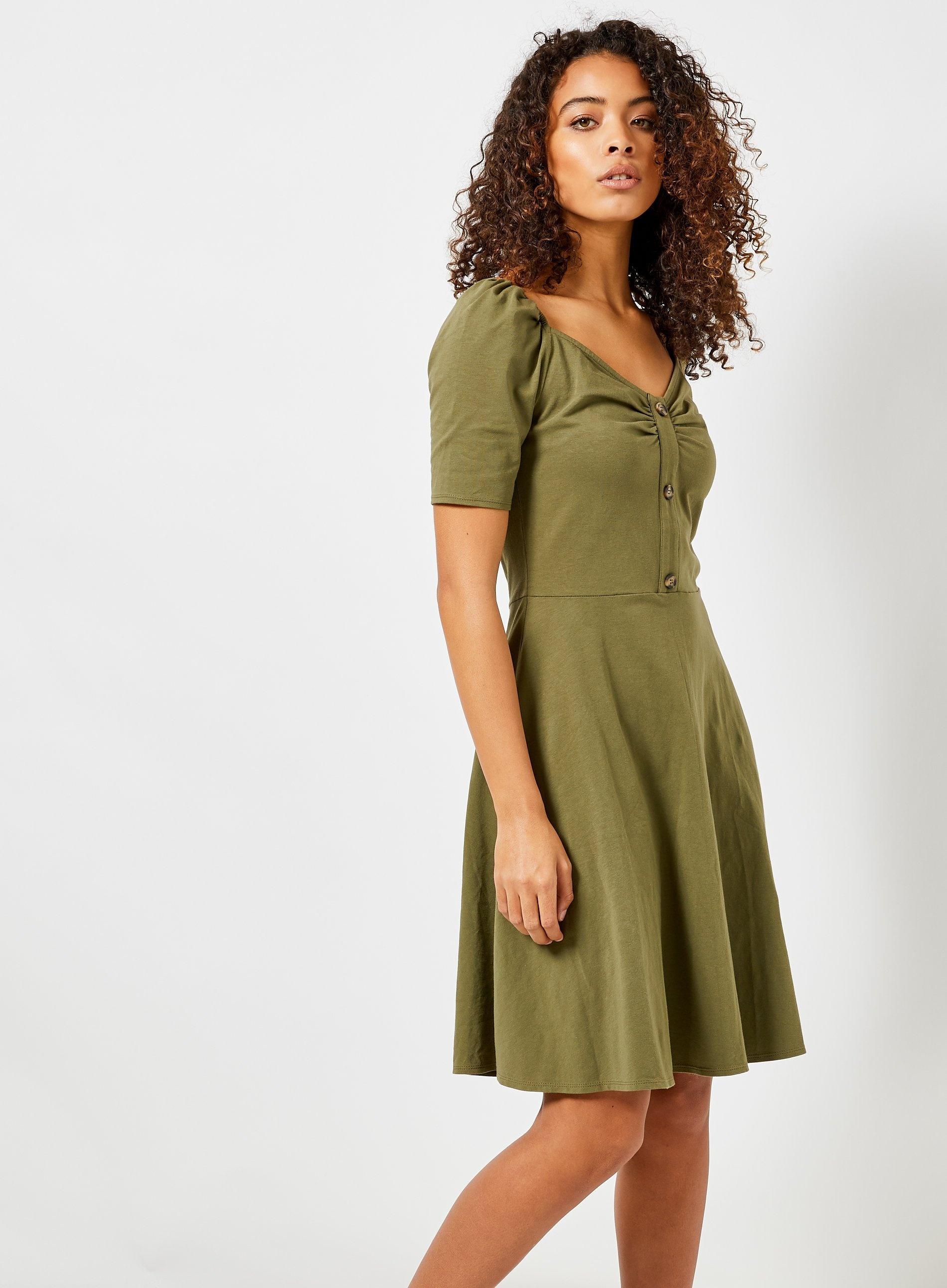 9336574420fd7 Dorothy Perkins Tall Khaki Horn Effect Button Dress in Green - Lyst