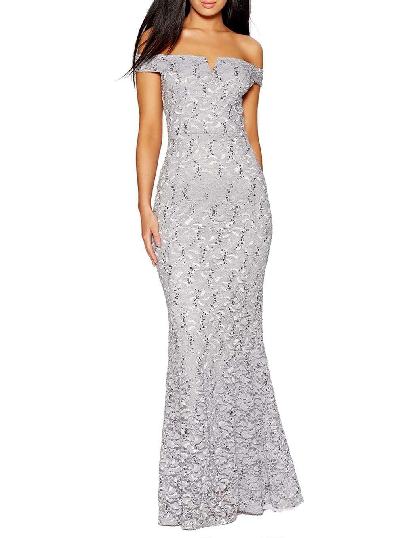 Quiz Silver Sequin Fishtail Maxi Dress