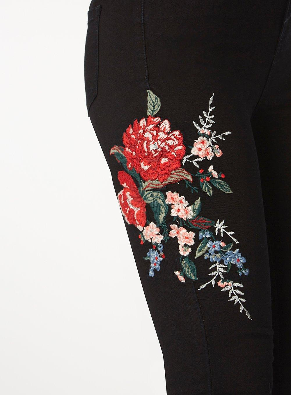 Dorothy Perkins Denim Black Floral Embroidered Skinny Jeans