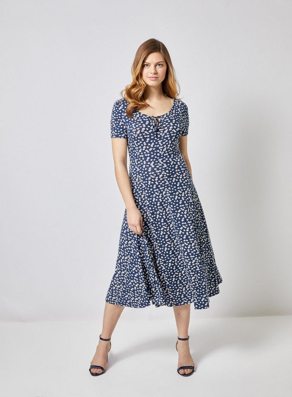 acc9d96a0b7 Dorothy Perkins - Blue Navy And White Floral Print Midi Skater Dress -  Lyst. View fullscreen