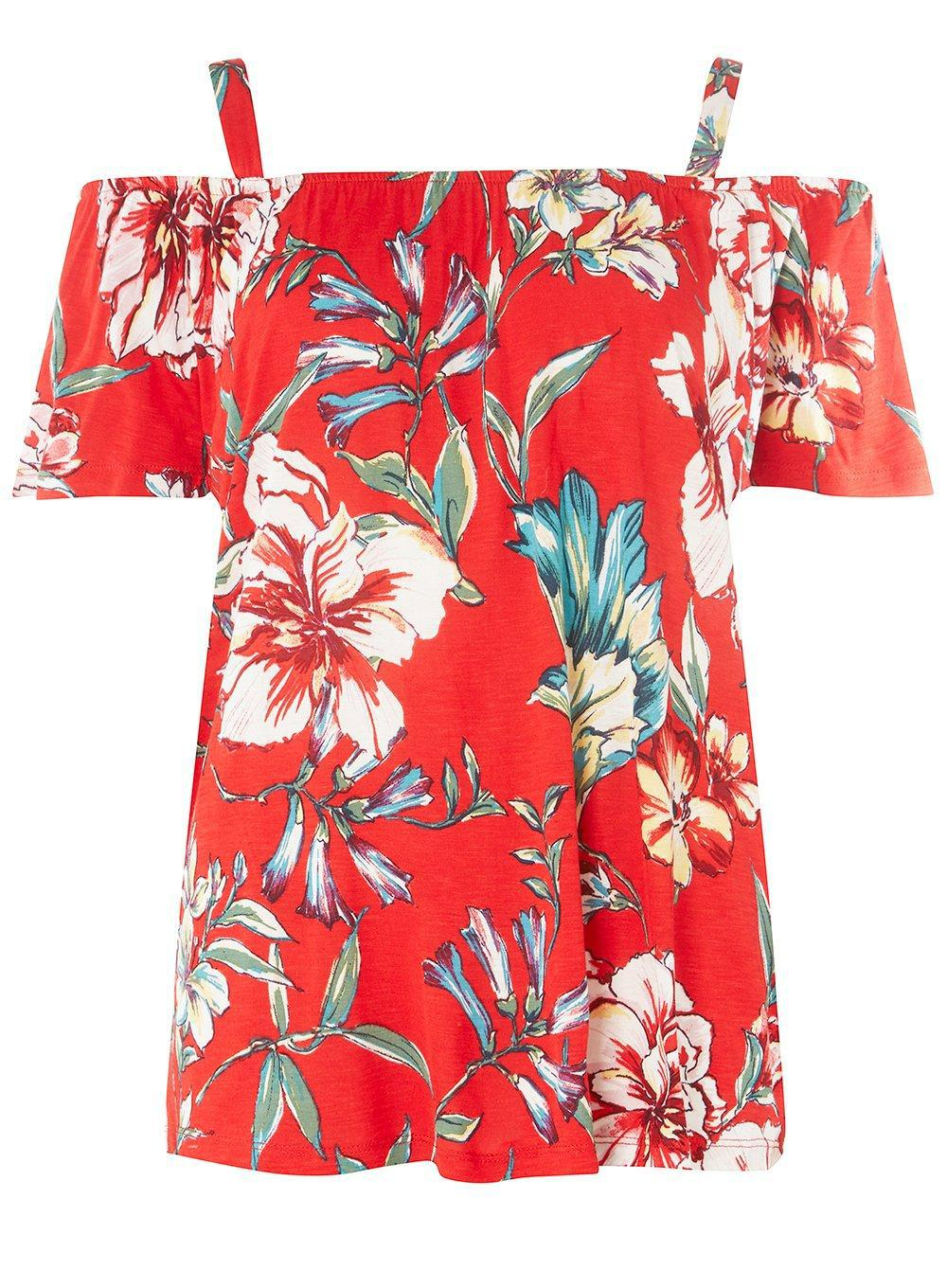 afab70ad42ff68 Lyst - Dorothy Perkins Tall Red Floral Cold Shoulder Top in Red