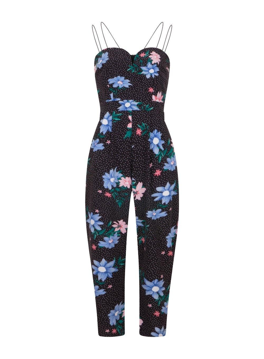 f64077a7a Quiz Girls On Film Black Floral And Spot Print Jumpsuit in Black - Lyst